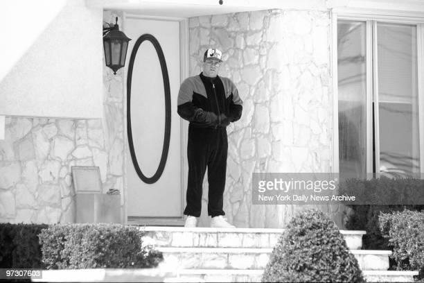 John Gotti Jr outside his house in Massapequa Long Island