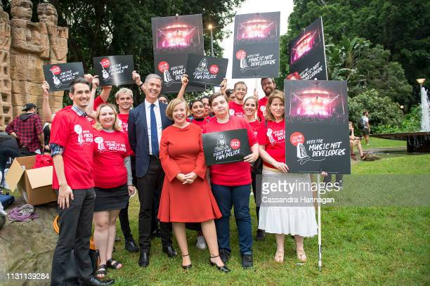 John Graham MLC poses with Labor supporters during the Don't Kill Live Music Rally at Hyde Park on February 21 2019 in Sydney Australia The rally has...