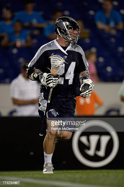 John Grant Jr #24 of Chesapeake Bayhawks in action against the Boston Cannons during a game at NavyMarine Corps Memorial Stadium on July 18 2013 in...