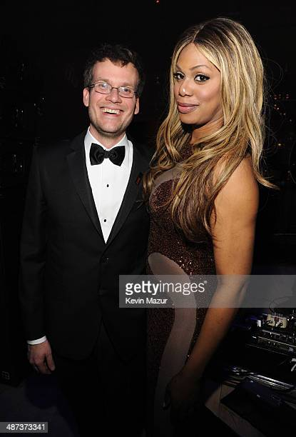 John Green and Laverne Cox attend the TIME 100 Gala TIME's 100 most influential people in the world at Jazz at Lincoln Center on April 29 2014 in New...