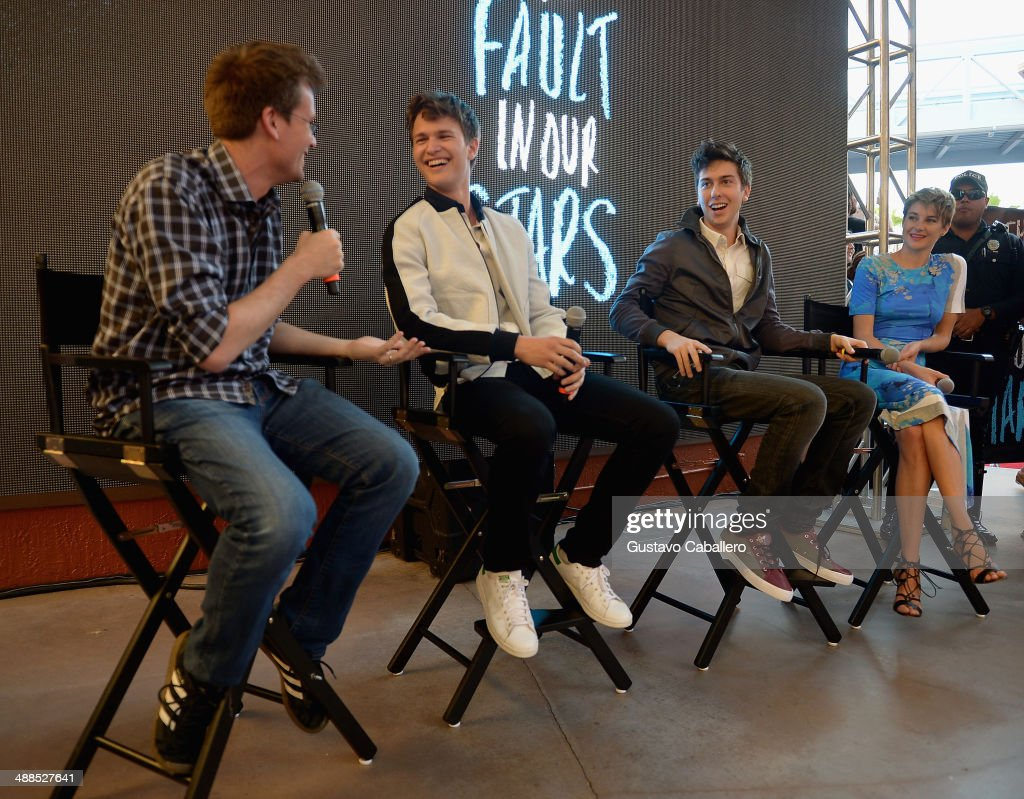 John Green, Ansel Elgort, Nat Wolff and Shailene Woodley attend the The Fault In Our Stars Miami Fan Event at Dolphin Mall on May 6, 2014 in Miami, Florida.