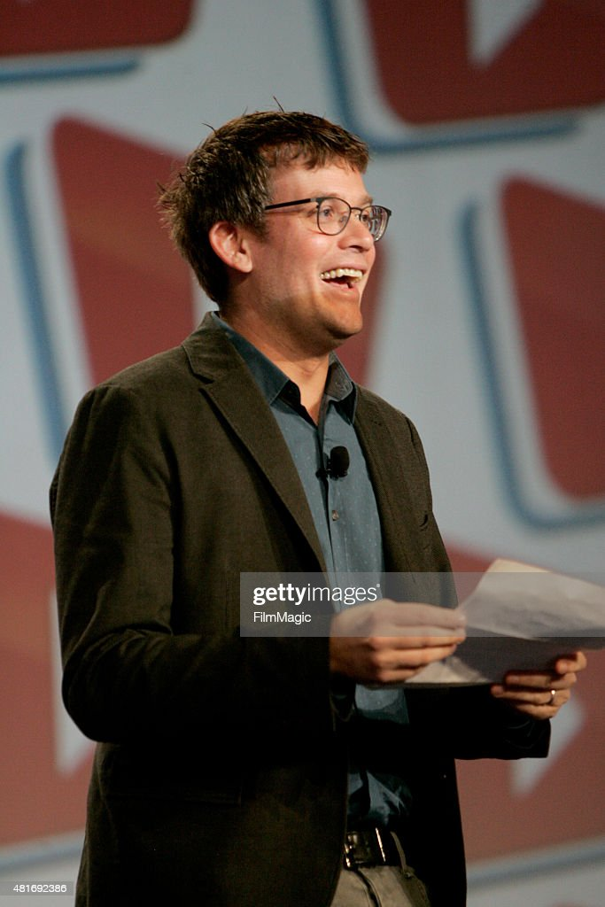 John Green, YouTuber, co-founder vidcon & 'Vlogbrothers' delivers opening remarks at #VidCon at Anaheim Convention Center on July 23, 2015 in Anaheim, California.