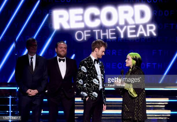 John Greenham Rob Kinelski Finneas O'Connell and Billie Eilish accept the Record of the Year award for 'Bad Guy' onstage during the 62nd Annual...