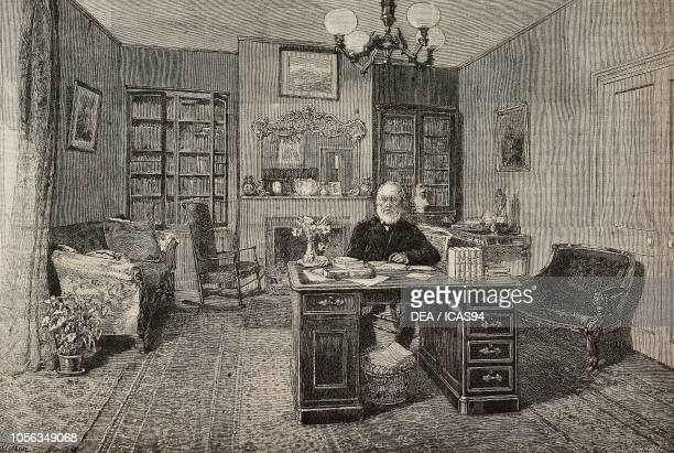 John Greenleaf Whittier American poet and journalist in his study at Amesbury United States of America engraving from The Illustrated London News No...