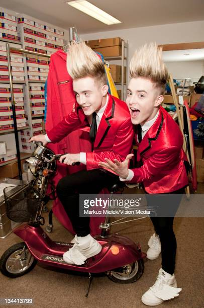 John Grimes and Edward Grimes of 'Jedward' pose backstage during the ZDF Fernsehgarten tv show on June 5 2011 in Mainz Germany