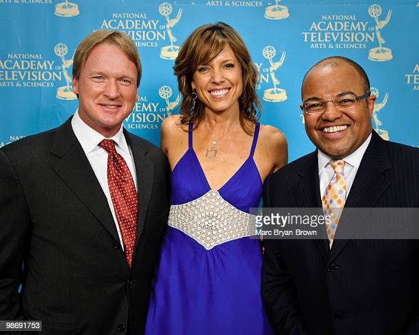 John Gruden Hannah Storm and Mike Tirico presenters at the 31st annual Sports Emmy Awards at Frederick P Rose Hall Jazz at Lincoln Center on April 26...