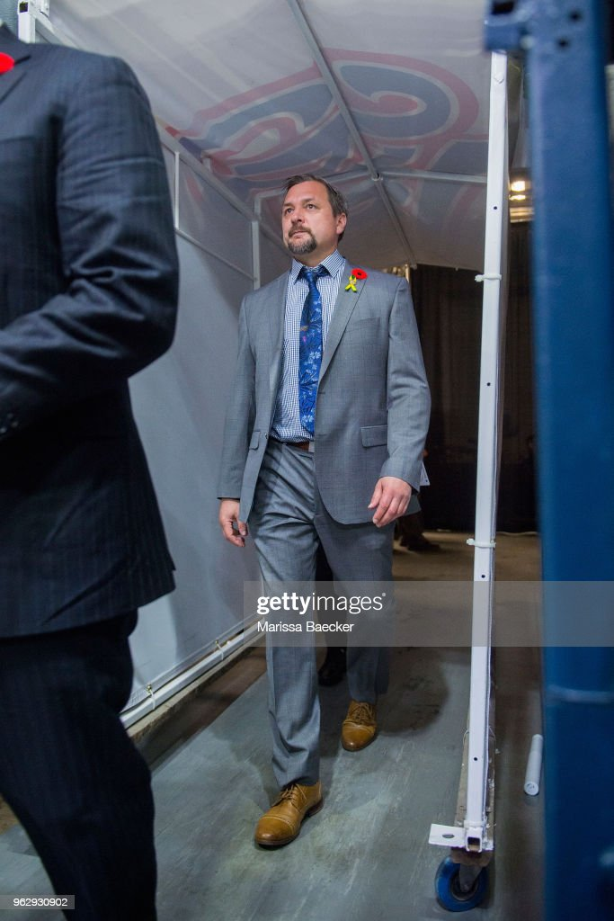 John Gruden, head coach of the Hamilton Bulldogs walks through the tunnel to the bench at the start of game 1 against the Regina Pats at Brandt Centre - Evraz Place on May 18, 2018 in Regina, Canada.