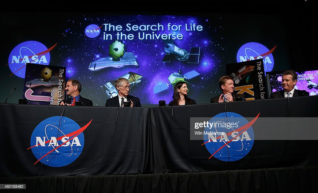 John Grunsfeld, astronaut and associate administrator of the Science Mission Directorate at NASA; John Mather, senior project scientist for the Webb telescope at NASA's Goddard Space Flight Center; Sara Seager, professor of planetary science and physics at the Massachusetts Institute of Technology; Dave Gallagher, director of astronomy and physics at NASA's Jet Propulsion Laboratory; and Matt Mountain, director of the Space Telescope Science Institute discuss 'the scientific and technological roadmap that will lead to the discovery of potentially habitable worlds among the stars' July 14, 2014 at NASA headquarters in Washington, DC. Most prominent among the methods NASA will search the universe for habitable exoplanets will be the deployment of the James Webb Space Telescope, with a mirror of 21 feet, scheduled to be launched in 2018.