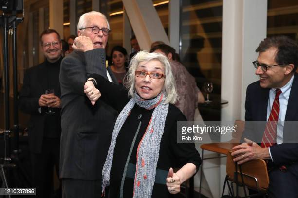 John Guare and Marsha Norman elbow shake at the 2020 Yale Drama Series Prize Reception at Claire Tow Theater on March 03 2020 in New York City