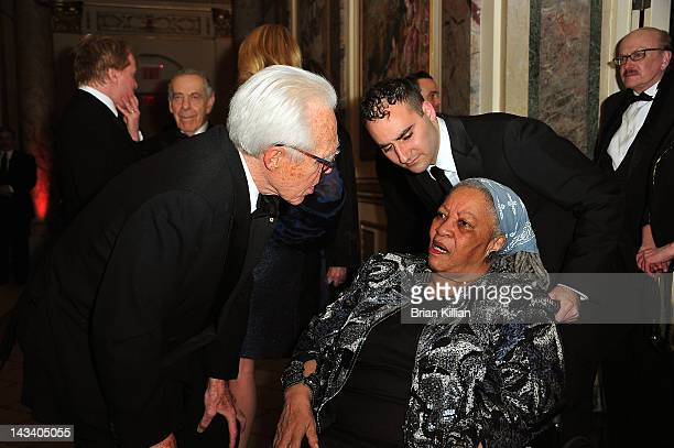 John Guare Benedict Campbell and Toni Morrison attend the American Academy in Rome 2012 Tribute Dinner at the Grand Ballroom at The Plaza Hotel on...
