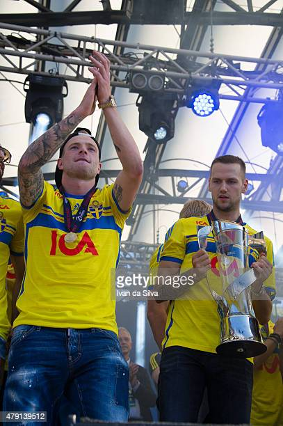 John Guidetti and Alexander Milosevic of Sweden U21 Team after they returned to Sweden victorious after winning UEFA European U21 Championship on...
