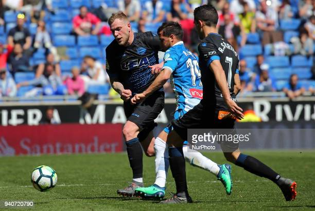 John Guidetti and Pablo Piatti during the match between RCD Espanyol and Depoortivo Alaves for the round 30 of the Liga Santander played at the RCD...