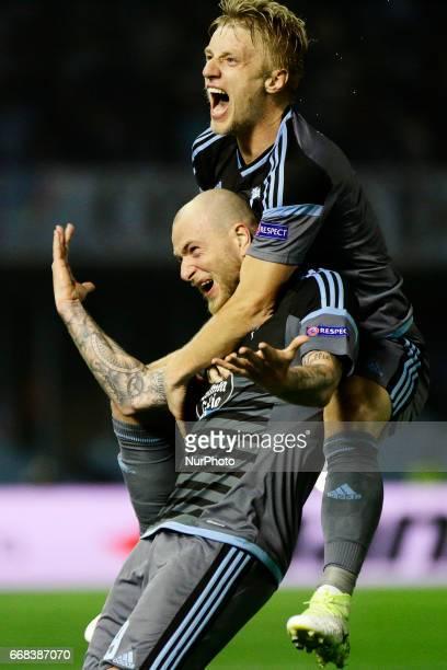 John Guidetti forward of Celta de Vigo and Daniel Wass midfielder of Celta de Vigo celebrate a goal during the UEFA Europe League Round of 4 first...