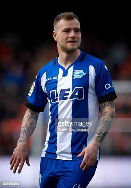 John Guidetti of Alaves reacts during the La Liga match between Valencia and Deportivo Alaves at Mestalla stadium on March 17 2018 in Valencia Spain