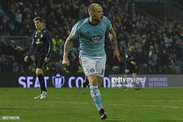 John Guidetti of Celta de Vigo celebrates after scores a goal during the Copa del Rey quarterfinal second leg match between Real Club Celta de Vigo...