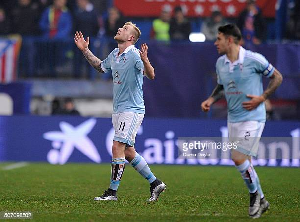 John Guidetti of Celta Vigo celebrates after scoring his team's 2nd goal during the Copa del Rey Quarter Final 2nd Leg match between Club Atletico de...