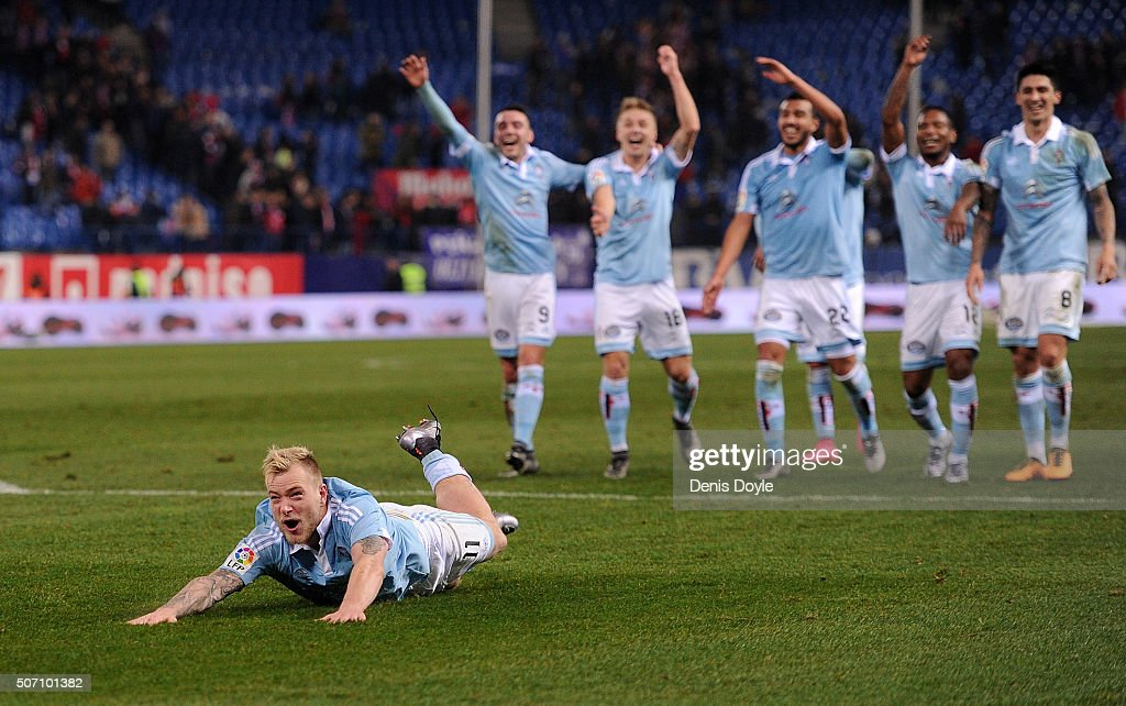 John Guidetti of Celta Vigo celebrates his team beat Club Atletico de Madrid 3-2 during the Copa del Rey Quarter Final 2nd Leg match between Club Atletico de Madrid and Celta Vigo at Vicente Calderon Stadium on January 27, 2016 in Madrid, Spain.