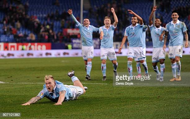 John Guidetti of Celta Vigo celebrates his team beat Club Atletico de Madrid 32 during the Copa del Rey Quarter Final 2nd Leg match between Club...