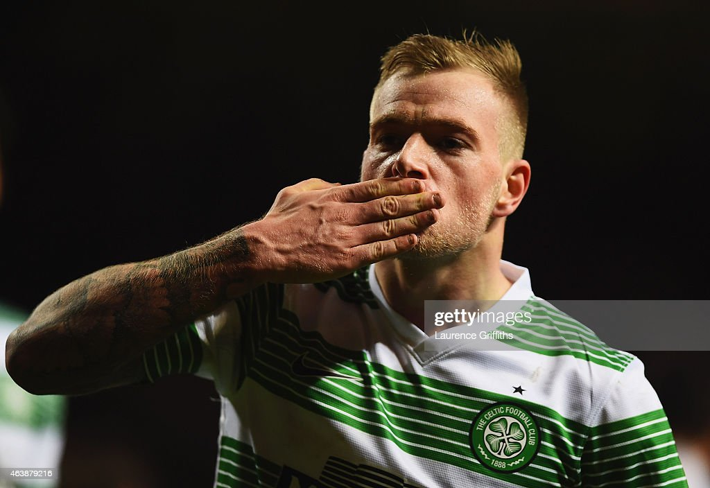 John Guidetti of Celtic celebrates as he scores their third and equalising goal during the UEFA Europa League Round of 32 first leg match between Celtic and FC Internazionale Milano on February 19, 2015 in Glasgow, United Kingdom.