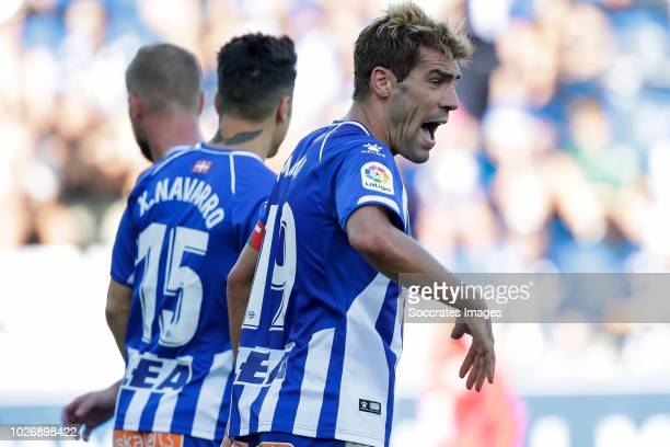 John Guidetti of Deportivo Alaves CF Joaquin Navarro Jimenez of Deportivo Alaves CF Manuel Alejandro Garcia of Deportivo Alaves CF during the La Liga...