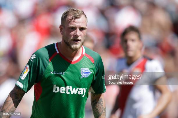 John Guidetti of Deportivo Alaves during the La Liga Santander match between Rayo Vallecano v Deportivo Alaves at the Campo de Fútbol de Vallecas on...