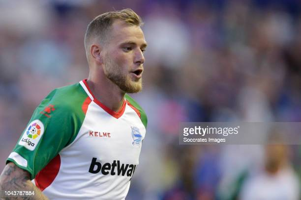 John Guidetti of Deportivo Alaves during the La Liga Santander match between Levante v Deportivo Alaves at the Estadi Ciutat de Valencia on September...
