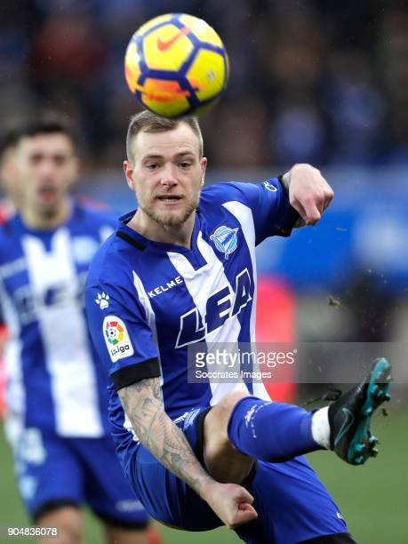 John Guidetti of Deportivo Alaves during the La Liga Santander match between Deportivo Alaves v Sevilla at the Estadio de Mendizorroza on January 14...