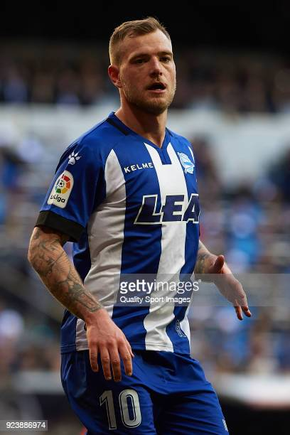 John Guidetti of Deportivo Alaves looks on during the La Liga match between Real Madrid and Deportivo Alaves at Estadio Santiago Bernabeu on February...