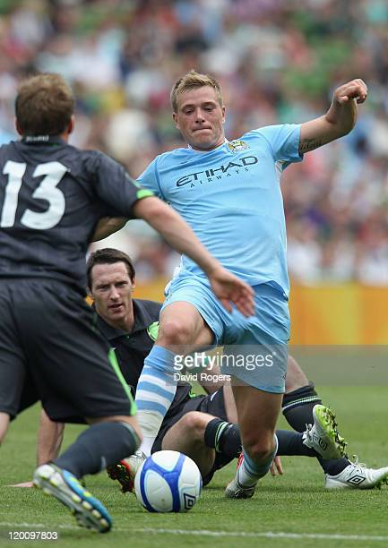 John Guidetti of Manchester City controls the ball during the Dublin Super Cup match between Manchester City and Airtricity XI at Aviva Stadium on...
