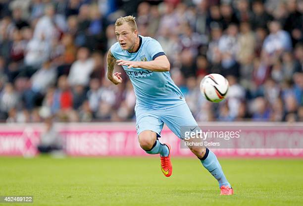 John Guidetti of Manchester City on the ball during the preseason friendly at Tynecastle Stadium on July 18 2014 in Edinburgh Scotland