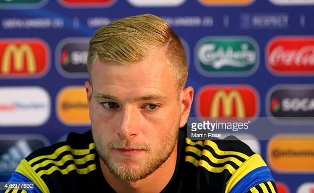 John Guidetti of Sweden attends a UEFA press conference ahead of the UEFA European Under21 final match against Portugal at Eden Stadium on June 29...
