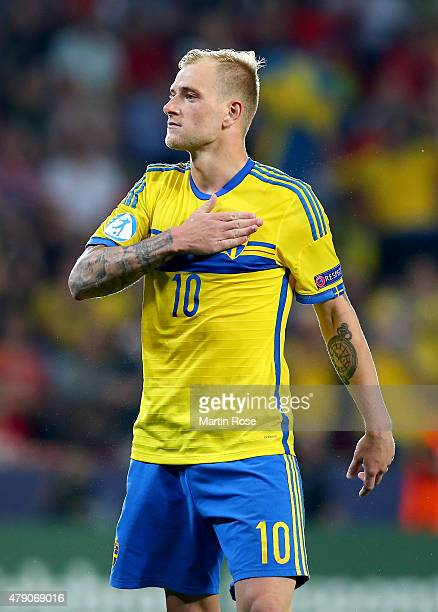 John Guidetti of Sweden celebrates after scoring during penalty shoot out during the UEFA European Under21 final match between Sweden and Portugal at...
