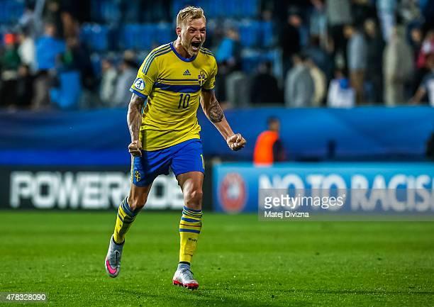 John Guidetti of Sweden celebrates after UEFA U21 European Championship Group B match between Portugal and Sweden at Mestsky Fotbalovy Stadium on...