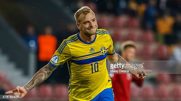 John Guidetti of Sweden celebrates his goal during UEFA U21 European Championship semi final match between Denmark and Sweden at Generali Arena on...