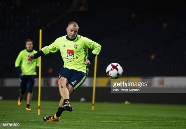 John Guidetti of Sweden during a training session ahead of the FIFA 2018 World Cup Qualifier between Sweden and Luxembourg at Friends arena on...