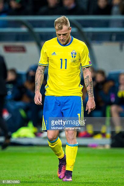 John Guidetti of Sweden during the 2018 FIFA World Cup Qualifier match between Sweden and Bulgaria at Friends Arena on October 10 2016 in Solna Sweden
