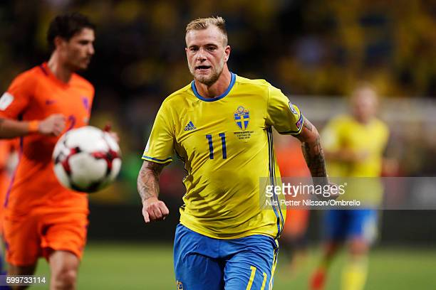 John Guidetti of Sweden during the FIFA World Cup Qualifier between Sweden and Netherlands at Friends arena on September 6 2016 in Solna Sweden