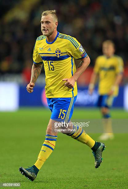 John Guidetti of Sweden during the UEFA EURO 2016 Qualifying match between Sweden and Moldova at the National Stadium Friends Arena on October 12...