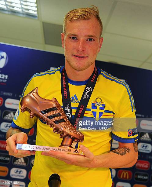 John Guidetti of Sweden holds his adidas Bronze Boot award after the UEFA Under 21 European Championship 2015 Final between Sweden and Portugal at...