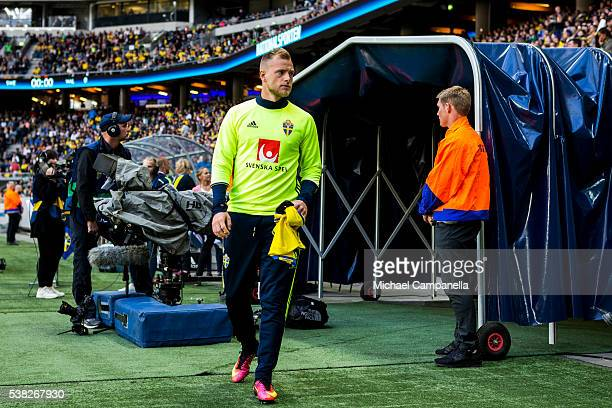 John Guidetti of Sweden makes his way to the bench before an international friendly between Sweden and Wales at Friends Arena on June 5 2016 in...