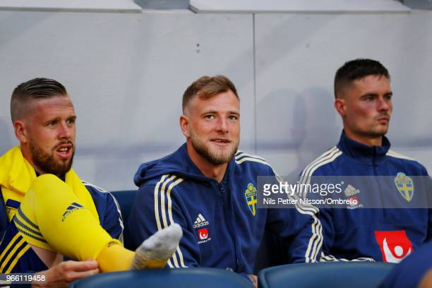 John Guidetti of Sweden on the bench during the International Friendly match between Sweden and Denmark at Friends Arena on June 2 2018 in Solna...