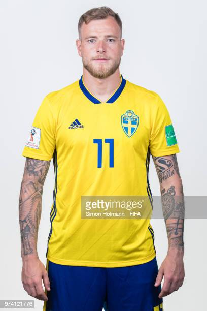 John Guidetti of Sweden poses during the official FIFA World Cup 2018 portrait session on June 13 2018 in Gelendzhik Russia