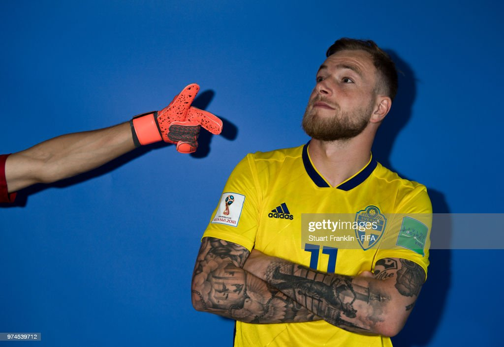 John Guidetti of Sweden poses for a photograph during the official FIFA World Cup 2018 portrait session at on June 13, 2018 in Gelendzhik, Russia.