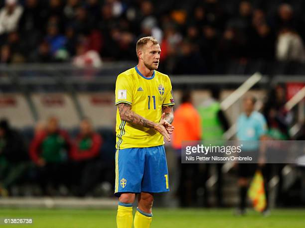 John Guidetti of Sweden reacts during the FIFA 2018 World Cup Qualifier between Sweden and Bulgaria at Friends Arena on October 10 2016 in Solna