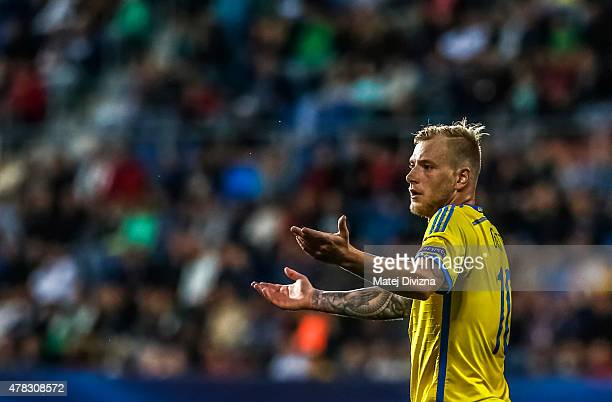 John Guidetti of Sweden reacts during UEFA U21 European Championship Group B match between Portugal and Sweden at Mestsky Fotbalovy Stadium on June...