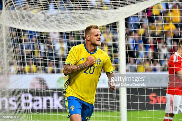 John Guidetti of Sweden scores the decisive goal to 30 during the international friendly between Sweden and Wales at Friends Arena on June 5 2016 in...