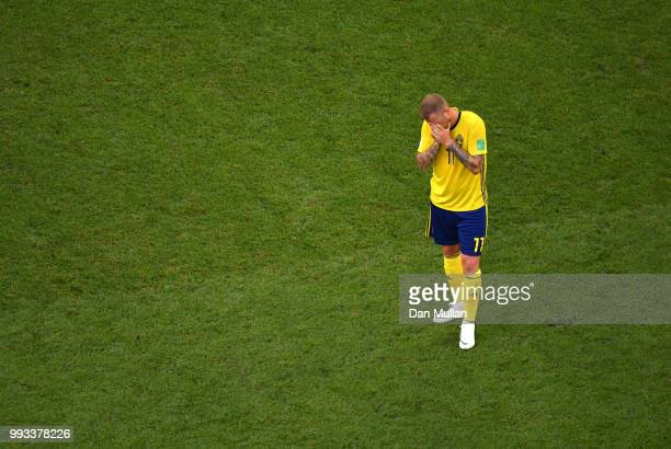 John Guidetti of Sweden shows his dejection following the 2018 FIFA World Cup Russia Quarter Final match between Sweden and England at Samara Arena...