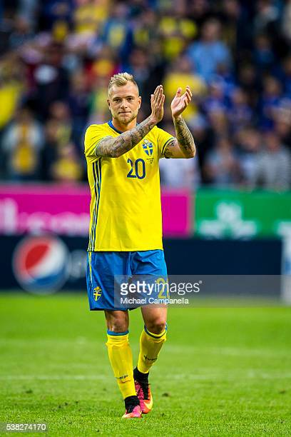 John Guidetti of Sweden thanks the public for their support during an international friendly between Sweden and Wales at Friends Arena on June 5 2016...