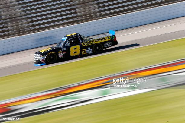John H Nemechek driver of the ROMCO Equipment/Fire Alarm Services Chevrolet practices for the NASCAR Camping World Truck Series JAG Metals 350...