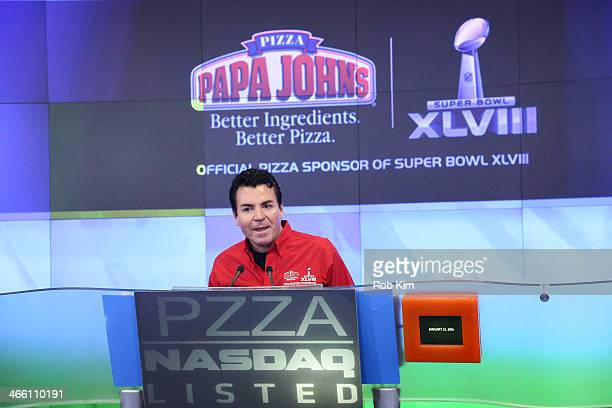 John H Schnatter Founder Chairman CEO of Papa John's International Inc rings the NASDAQ Opening Bell at NASDAQ MarketSite on January 31 2014 in New...